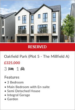 New Development Oakfield Park Plot 5 reserved by Hackney & Leigh